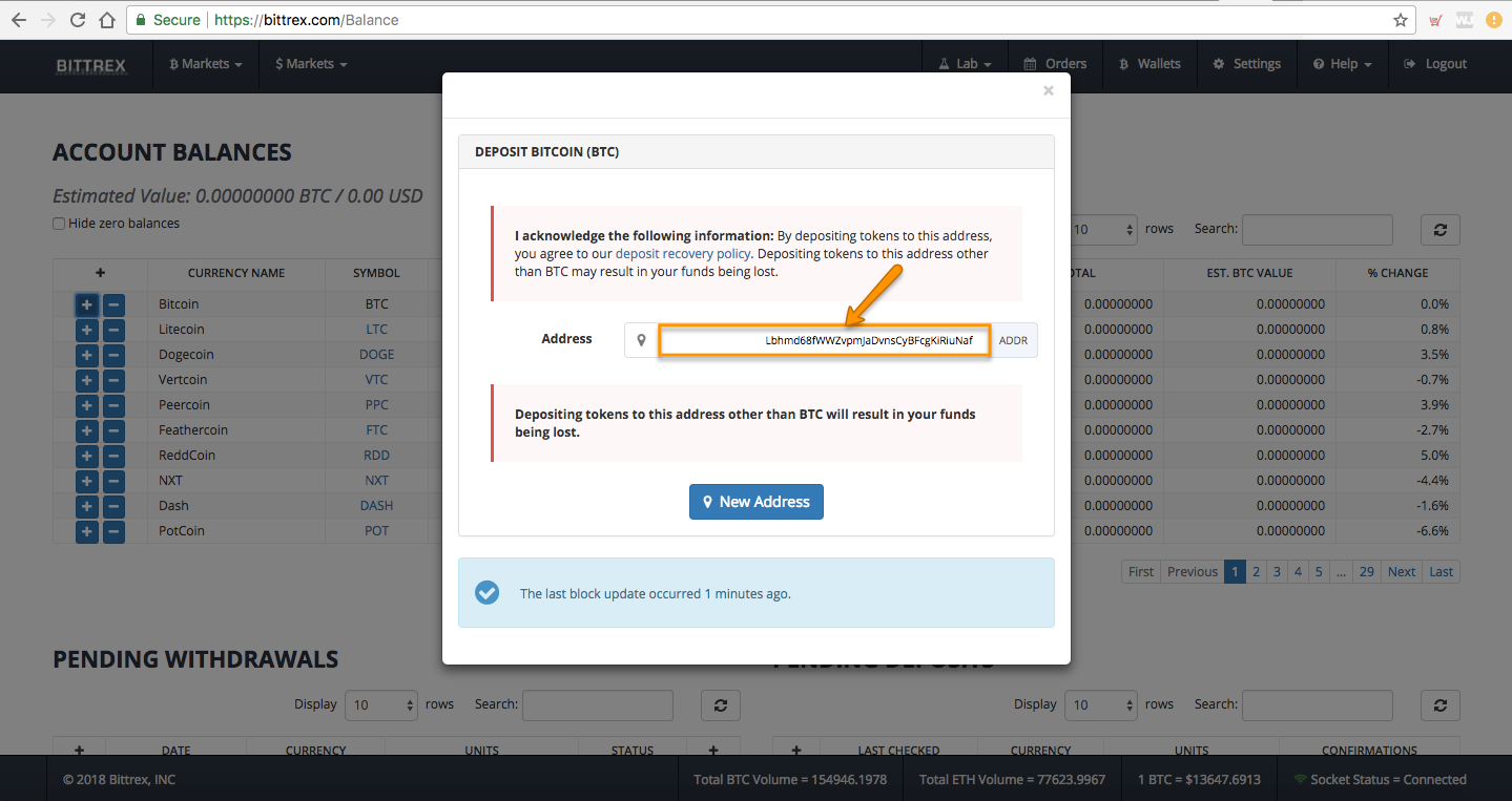STEP 3: TRANSFER BITCOIN TO YOUR BITTREX ACCOUNT