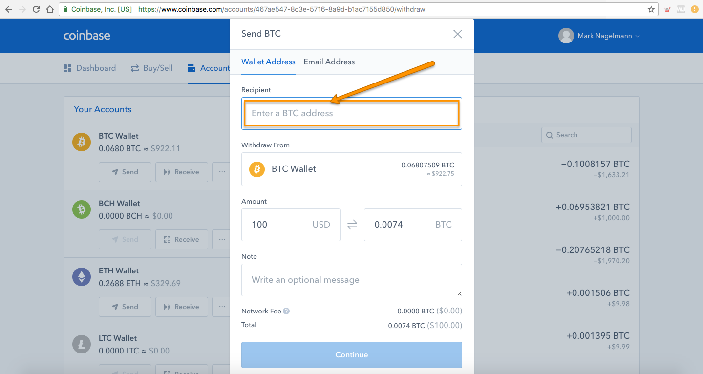 Now go back to Coinbase > click Accounts > select ETH Wallet > click Send >  select the amount you want to transfer to KuCoin > paste the unique address  your ...